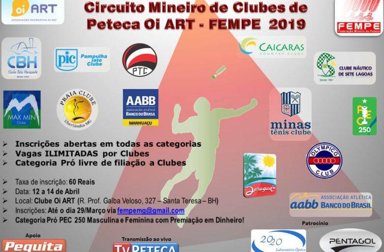 CIRCUITO MINEIRO DE CLUBES DE PETECA OI ART – FEMPE 2019